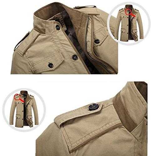 Comode Veste Longue Coton Loisirs Manteau Taglie Manches Avant Poches De Avec Hommes Abiti 06 Zipper Khaki Longues À Automne ftwqg0n