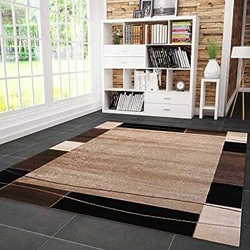 Teppich Kariert Retro Muster Meliert In Braun Schlafzimmer Wohnzimmer  60x100 Cm