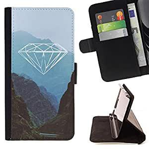 - diamond nature mountains blue green - - Prima caja de la PU billetera de cuero con ranuras para tarjetas, efectivo desmontable correa para l Funny HouseFOR Samsung Galaxy Note 3 III