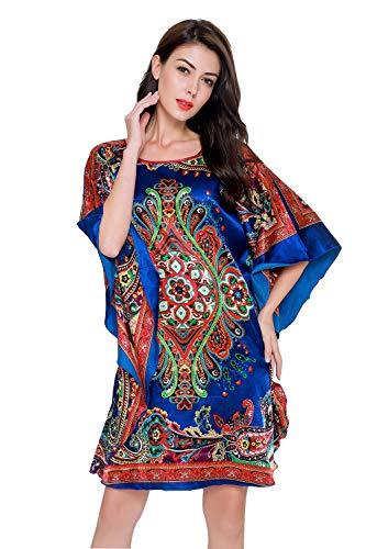 SexyTown Women's Soft Satin Pajamas Printed Sleepwear Dress Batwing Sleeve Nightgow Style2-Pattern C ()