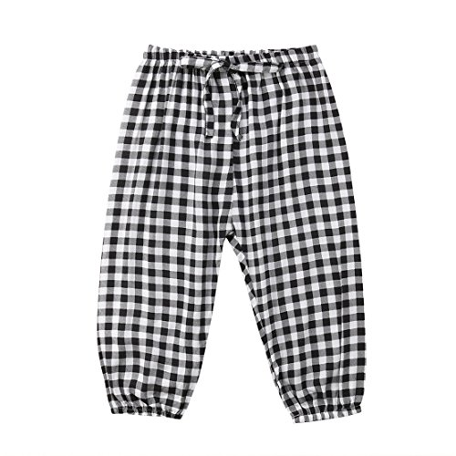 Mornbaby Toddler Kids Girl Cotton Long Pants Casual Anti-Mosquito Sweatpants Trousers (Plaid, (Cotton Plaid Trousers)