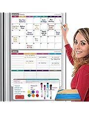 CREKERT Dry Erase Fridge Calendar, Magnetic Calendar Whiteboard for Refrigerator, Monthly Weekly Whiteboard Calendar Set with 4 Markers 1 Eraser 6 Magnets (Gift Box)