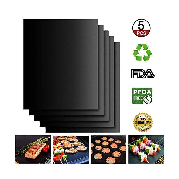 Extsud Set di 5 Tappetini da BBQ Griglia Resistente al Calore Antiaderente Riutilizzabili, Tappeto per Griglia a Carbone… 3 spesavip