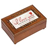 I Love You Wood Finish Rose Jewelry Music Box Plays Amazing Grace