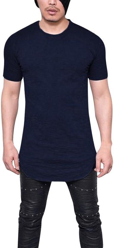 OHQ Camisas De Hombre Camiseta De Manga Corta para Hombre Negro Blanco Armada Rojo Camiseta De Manga Corta con Cuello Redondo Y Manga Corta para Hombres Manga Larga Casual Moda: Amazon.es: Ropa