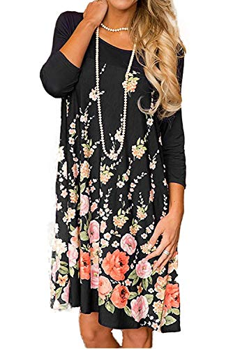 Halife Women's Long Sleeve Floral Printed Casual Swing T-Shi