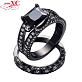 GemMart Jewelry Size 5-10 Wedding Band For Couples Black Gold Filled Square Zircon Ring Engagement Jewelry Femme RB0161