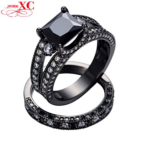 GemMart Jewelry Size 5-10 Wedding Band For Couples Black Gold Filled Square Zircon Ring Engagement Jewelry Femme RB0161 by GemMart Jewelry