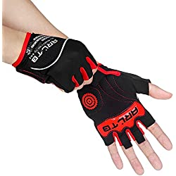 Arltb Cycling Gloves Bike Bicycle Gloves Padded Fingerless Biking Gloves Mittens with Easy to Pull Ring Shock Absorb Lycra Breathable for Bike Riding BMX Bikes Mountain Bike Free Cycle
