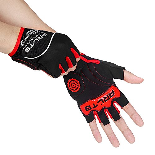 Arltb Cycling Gloves Bike Bicycle Gloves Padded Fingerless Biking Gloves Mittens with Easy to Pull Ring Shock Absorb Lycra Breathable for Bike Riding BMX Bikes Mountain Bike Free Cycle Motorcycle