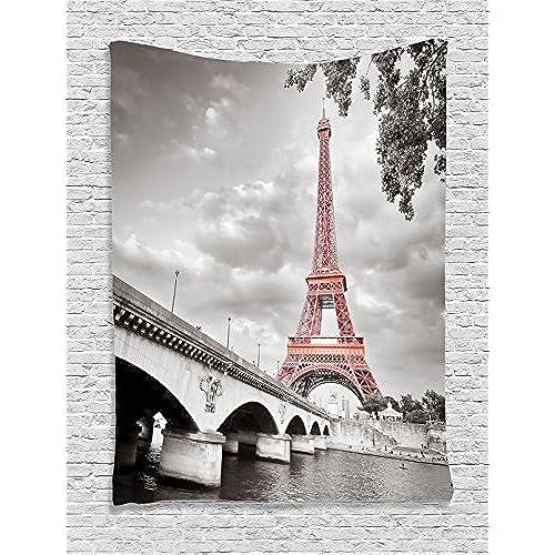 Nice Ambesonne Paris City Decor Collection, Eiffel Tower Bridge Capital City  Cloudscape Monochrome Selective Colorization Picture, Bedroom Living Room  Dorm Wall ...