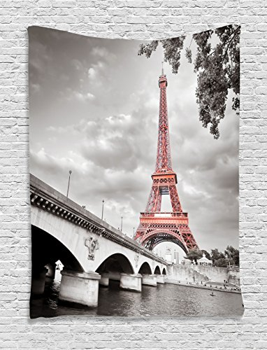 Ambesonne Paris City Decor Collection, Eiffel Tower Bridge Capital City Cloudscape Monochrome Selective Colorization Picture, Bedroom Living Room Dorm Wall Hanging Tapestry, Cloudy Grey