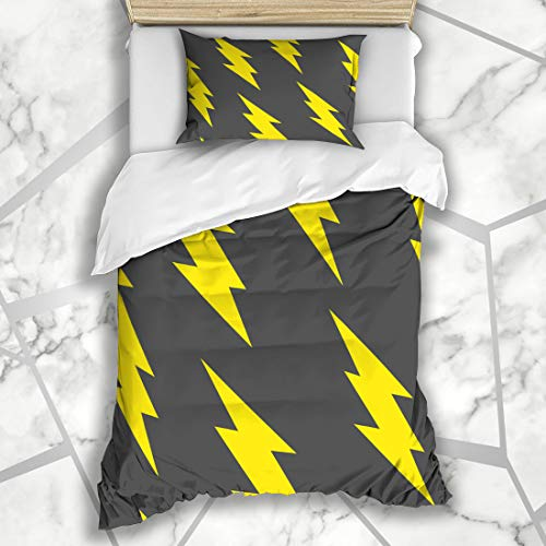 Ahawoso Duvet Cover Sets Twin 68X86 Abstract Pink Retro Flash Lightning Bolt Pattern Thunder Arrow Charge Danger Microfiber Bedding with 1 Pillow Shams