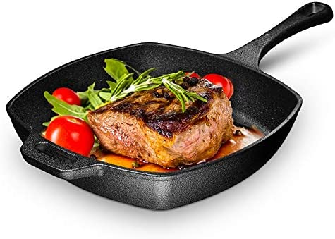10 Inch Square Cast Iron Grill Pan. Pre-seasoned Grill Pan with Easy Grease Draining for Grilling Bacon, Steak, and Meats, Stove, Fire and Oven Safe For Camping and Barbecue.