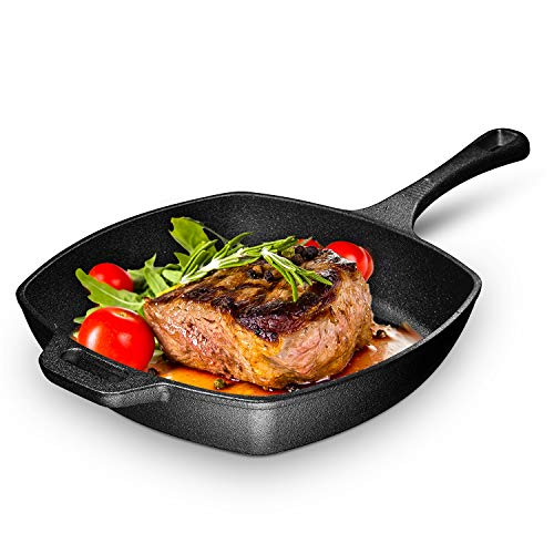 (10 Inch Square Cast Iron Grill Pan. Pre-seasoned Grill Pan with Easy Grease Draining for Grilling Bacon, Steak, and Meats, Stove, Fire and Oven Safe For Camping and Barbecue.)