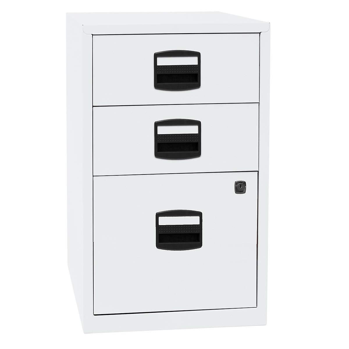 Bisley Home Beistellschrank Pfa, 2 Universalschubladen, 1 HR-Schublade, Metall, 696 Verkehrsweiß, 40 x 41.3 x 67.2 cm