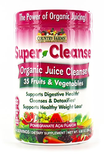 Country Farms Super Cleanse, Organic Super Juice Cleanse, Delicious Drink Powder, 14 Servings