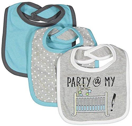 - Baby Lounge Girls 3-Pack Gray & White Baby Bib Set, Party @ my crib, One Size