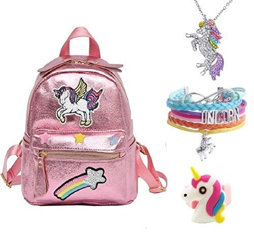Pink Rainbow Unicorn Backpack, Mini Travel Backpack, Shiny Backpack for Girls, Super Cool Leather Daypack + Unicorn/Bracelet/Inspirational Necklace/Ring ... (Pink)
