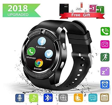 Montre Connectée, Bluetooth smartwatch Rond Etanche avec SIM/TF Carte Ecran Tactile Sport Pédomètre