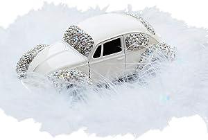 Radish Stars Fashion Bling Rhinestone Model Car Dashboard Decor Set with Fluffy Fur Dashboard Clock Bottom Non-Slip Pad Mat