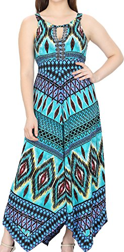 Lapogee Inc womens Beaded dress,Teal Turqoise Scroll Print with hanky-hem (LARGE)
