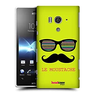 Head Case Designs Green Le Moustaches Protective Snap-on Hard Back Case Cover for Sony Xperia acro S LT26W