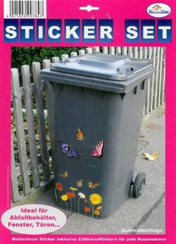 Wheelie Bin Decorating Kit Garden Gnomes Self Adhesive Stickers Letters//Numbers