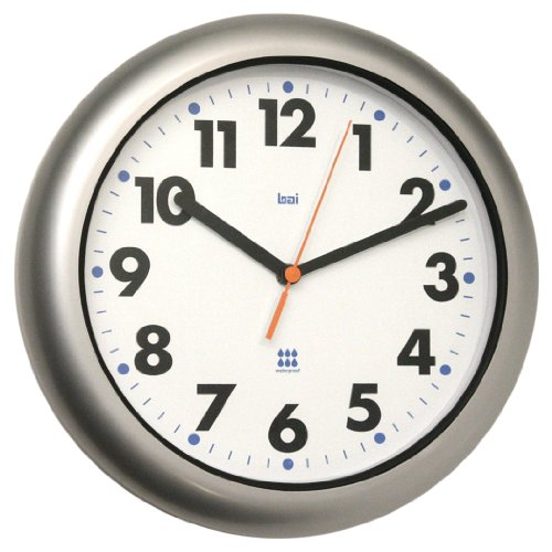 Bai Aquamaster Weatherproof Wall Clock, Silver (Weatherproof Clocks)
