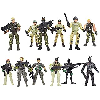 PowerTRC 12 Pack Special Forces Action Army Combat Military, War Men Weapons Figures and Acessories Poseable Toy Playset for Kids (4-Inches)