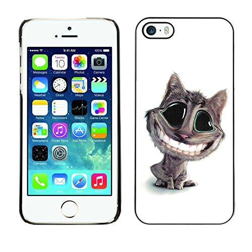 TaiTech / Case Cover Housse Coque étui - Cat Big Smile Teeth White Feline Art Cartoon - Apple iPhone 5 / 5S