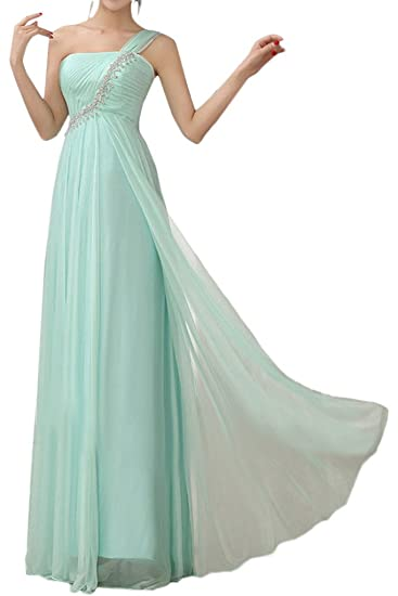 Gorgeous Bride Light Green One-shoulder Long Bridesmaid Dresses Party Prom Gown-UK Size