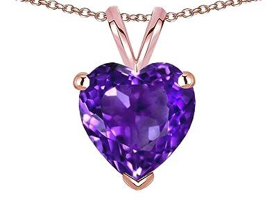 Star K 8mm Heart Genuine Amethyst Pendant Necklace 14 Kt Rose Gold