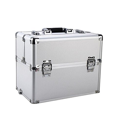 Pro 3 in1 Aluminum Rolling Makeup Cosmetic Train Case Wheeled Box