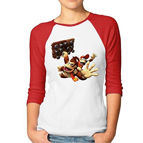 [Woman Donkey Kong Dk Jungle Climber Logo 3/4 Contrast Raglan Sleeve Tee] (Donkey Kong Costume For Women)
