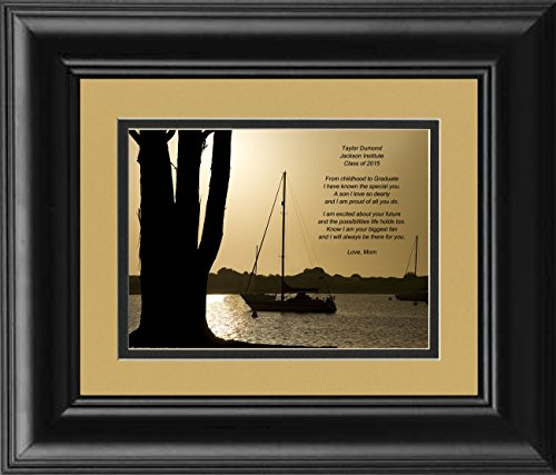 Framed Personalized Son Graduation Gift, Boats at Dusk Photo with