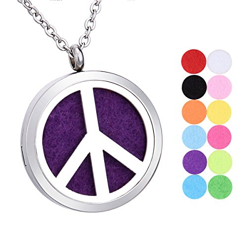 Tone Peace Sign - Peace Sign Aromatherapy Essential Oil Diffuser Necklace Stainless Steel Round Locket Pendant 24