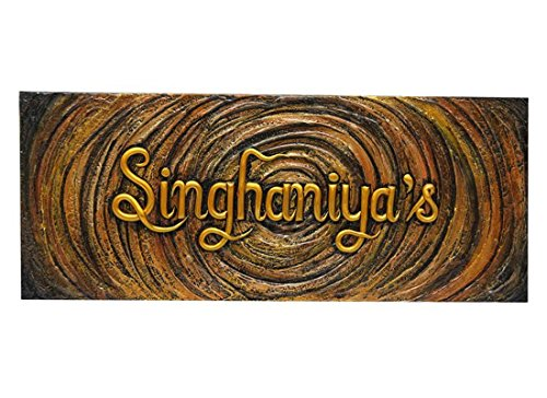 Craftedindia Carved Wooden Classic Name Plate for Door by CraftedIndia