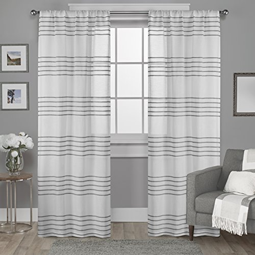 Exclusive Home Curtains Monet Pleated Sheer Rod Pocket Window Curtain Panel Pair, Silver, 54x84