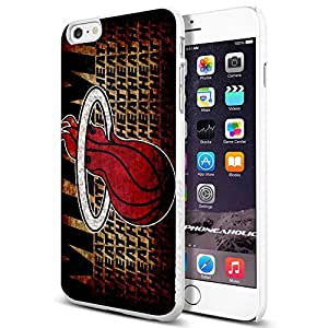 Basketball NBA MIAMI HEAT Logo,Cool iPhone 6 Plus (6+ , 5.5 Inch) Smartphone Case Cover Collector iphone TPU Rubber Case White