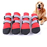 FLAdorepet Large Big Dog Sport Shoes Winter Waterproof Pet Dog Puppy Boots Non-Slip Pitbull Golden Retriever Rain Shoes (S, Red)