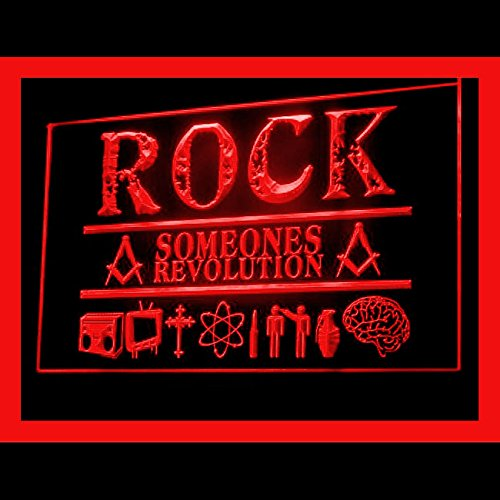 Rock Someones Revolution Music Live Roll Contemporary LED Light Sign 140064 Color Red