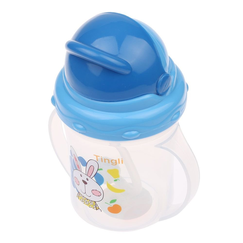150mL Baby Straw Cup Drinking Learning Bottle Sippy Cup With Handle - Blue MMRM