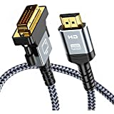 HDMI to DVI Cable (6 Feet) Support 1080P Full DVI-D Male to HDMI Male High Speed Adapter Cable Gold Plated for Xbox 360, PS4, PS3, Apple TV HDMI Male A to DVI-D 24+1 Pins