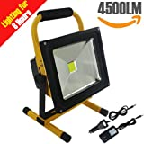 8 Hr Super Bright 50W Spotlights LED Outdoor Work Lights Camping Lights,Built-in Rechargeable Lithium Batteries IP65 Waterproof Portable Emergency Floodlight