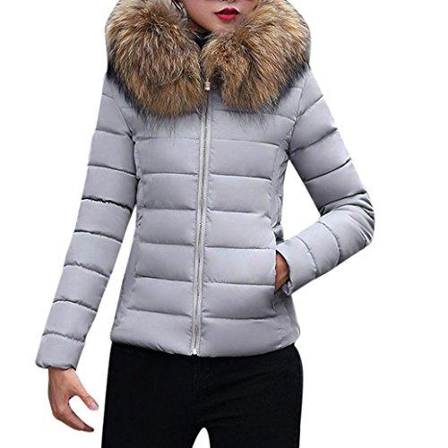 K-youth®® Las Mujeres abrigan Abrigos Largos de Piel de la Chaqueta de Invierno Parka Outwear Gris