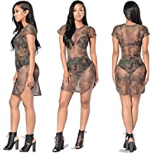 Party Dress Clearance !!! Women's Sexy Cover Up Short Sleeve See Through Camouflage Gauze T-Shirt Dress Beach Dress (Camouflage, M)