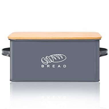 Bread Box for Kitchen, GA Homefavor Bread Bin, Bread Holder with Bamboo Lid, 11.56 6.7 5.5 , Grey
