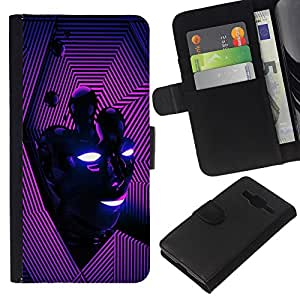 KingStore / Leather Etui en cuir / Samsung Galaxy Core Prime / Vibrante Purple Líneas Cara Energía Moderna