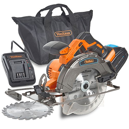"VonHaus 20V MAX Cordless Circular Saw with Brake and 2x 6-1/2"" Saw Blades - 3.0Ah Lithium-Ion Battery and Charger Kit Included"